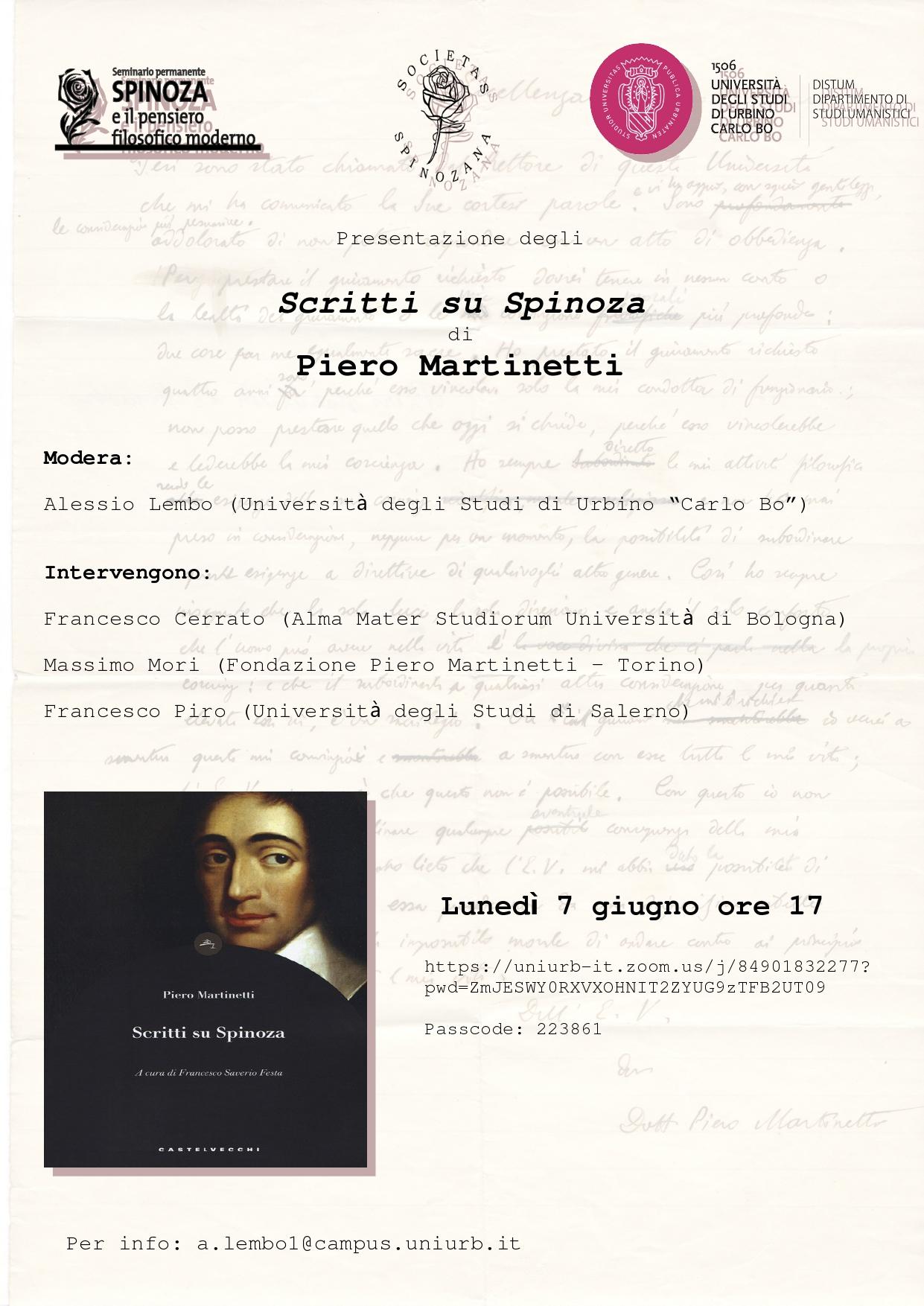 """""""Scritti su Spinoza"""" di Piero Martinetti"""